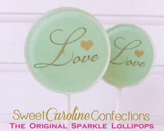 Mint Green Wedding Lollipops, Wedding Favors, Candy Lollipop, Lollipop Favors, Green and Gold,  Sparkle Lollipops,-Set of Six