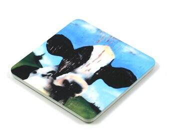 Fridge Magnet, Cow Fridge Magnet, Photo Magnet, Plastic, Square, Handmade