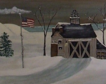 Americana Folk Art Barn Painting.