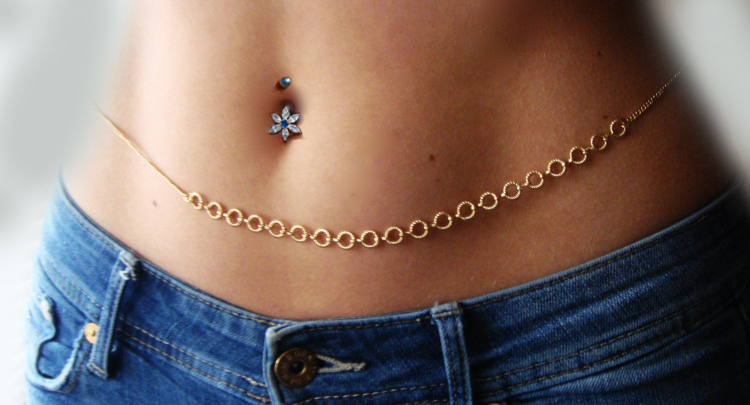 silver plated belly chain body jewelry waist
