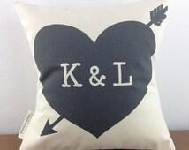 Initials and Heart Pillow, Monogram Pillow, Wedding Gift, 2nd Anniversary Cotton Gift, Home Decor, Printed Pillow, Heart Pillow