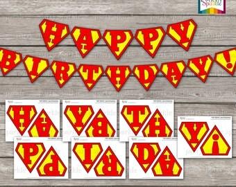 INSTANT DOWNLOAD - Happy Birthday Superhero Bunting Banner - Digital Printable pdf file