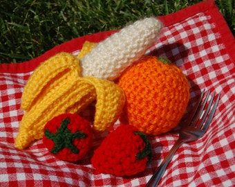 Crochet Toy Fruit Group - Banana, Orange, Strawberries (4 pcs)