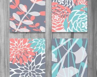 Coral Turquoise Gray Art PRINT Set Modern Vintage Floral Nature Prints 8x10 Set of 4 Grey Bedroom Home Decor