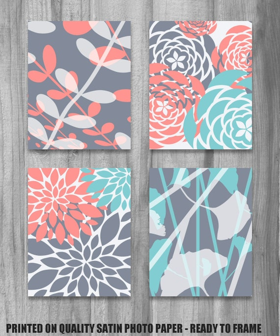 Coral Turquoise Gray Art PRINT Set Modern Vintage Floral