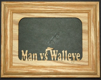 Man vs Walleye Fishing Picture Frame 5x7
