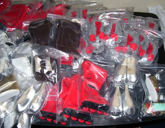 """Doll Making Craft Supplies Wholesale Huge Lot Shoes Fits 18"""" Girl Doll American DESIGNAFRIEND Gotz Style"""