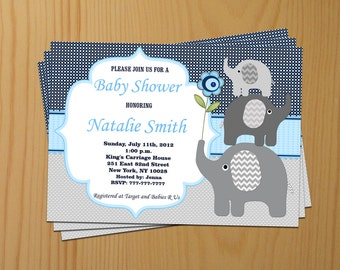 Elephant Baby Shower Invitation Boy Baby Shower invitations Printable Baby Shower Invite -FREE Thank You Card - editable pdf Download (50a3)