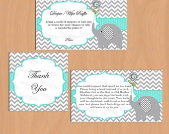 Baby Shower package diaper raffle bring a book thank you tag boy baby shower elephant baby shower (01) instant download