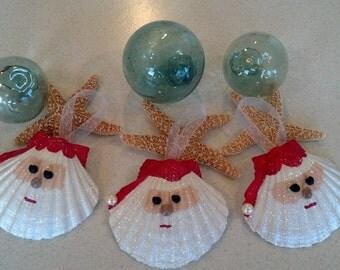 Santa Seashell Christmas Ornament -Beach Decor - Nautical Holiday Ornament