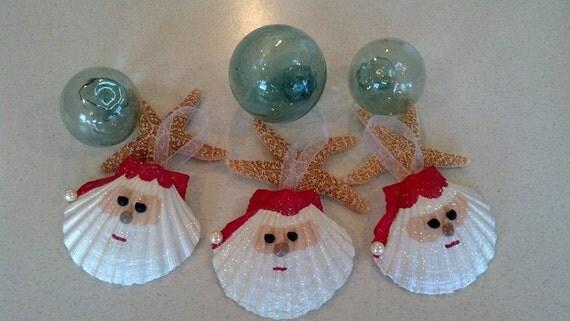 Santa seashell christmas ornament beach decor nautical for Christmas tree ornaments made from seashells