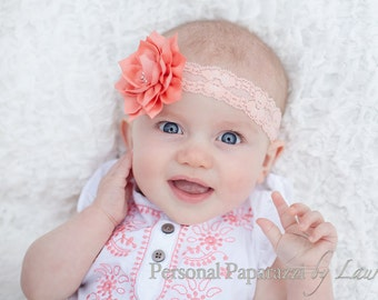 Coral Lace Headband ** Coral Flower ** Coral Headband ** Lace Headband ** baby headband ** toddler headband ** vintage headband