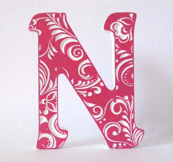Wooden letter n wedding decor home decorwood decoration for Shoulder decoration 9 letters
