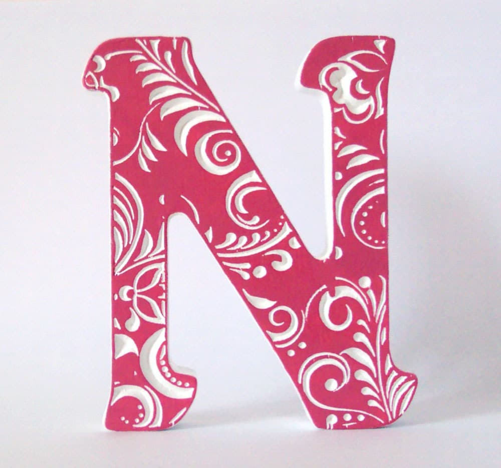 wooden letter n wedding decor home decorwood decoration