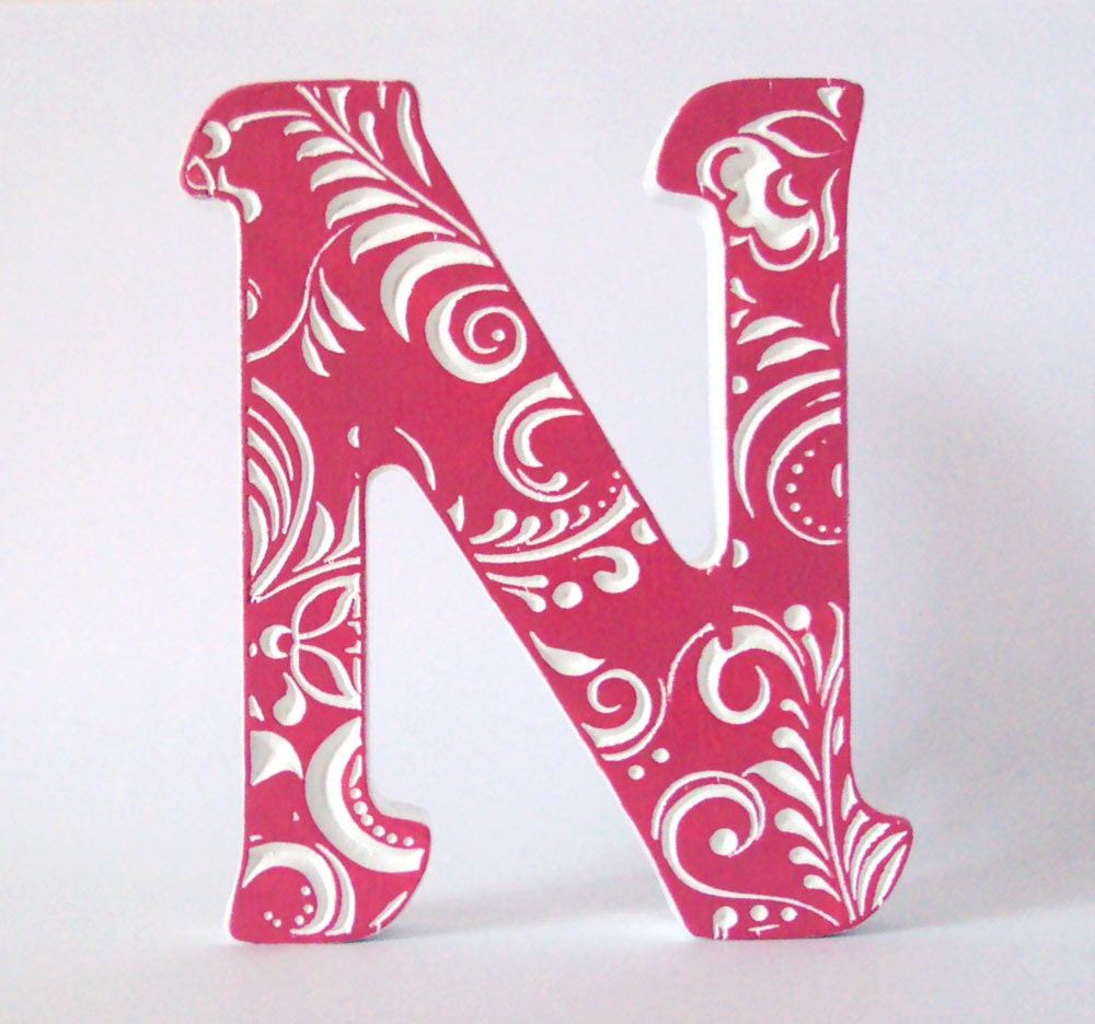 Wooden letter n wedding decor home decorwood decoration for Letter n decorations