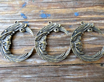 Lovely Crescent Moon Goddess Charms -  Brass over Lead Free Pewter (lot of 3 pieces)