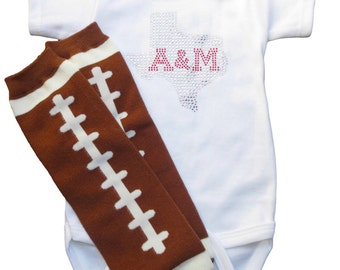 Texas A&M Onesie with football leg warmers and shipping