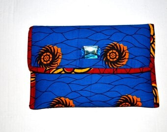Blue and Orange  Evening Clutch Bag.- African Wedding Gift- Blue Clutch-African Ankara Fabric Clutch -Blue And Red African Fabric Purse