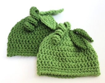 Green Pea Beanie Hat - Peas in a Pod Baby Cap, Little Sprout, Crochet Baby Hat