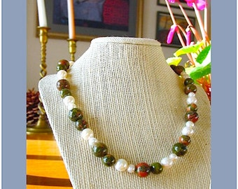Unakite and Pearl Necklace
