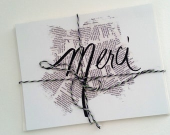 Merci thank you card set of 4 with envelopes - newsprint black and white, blank inside