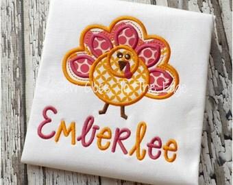 Thanksgiving Girls Turkey Applique T-Shirt - Girls Applique Holiday Shirt Monogram Shirt Embroidered Turkey Shirt, Turkey Outfit