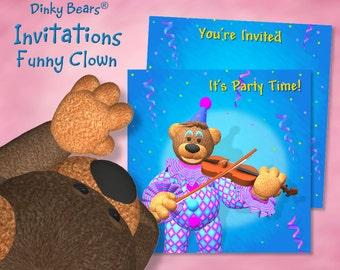Dinky Bears Clown Playing Violin Invitation - Digital Download