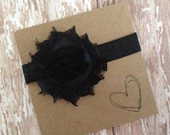 Black Shabby Flower Headband, Black Headband, Flower Headband, Baby Headband, Newborn Headband