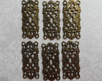 "Vintage gold or silver plate brass stamped filigree connectors,1&1/8th""x1/2"", 6pcs-FLG25"