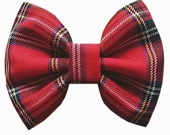 10% off with the code BDAY10  Rockabilly Tartan Red Fabric Hair Bow