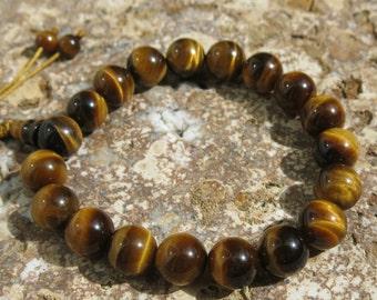 Tigers Eye Wrist Mala. 18 beads, 10mm. Mantra meditation.  Adjustable closure. Accomplishing Goals, Self-worth, Creative Energy