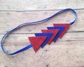 Blue and Red Arrows Headband - Blue Elastic - Glitter Red - Sparkly Wool Felt Arrow Headband - Girly Chic Headband - Chicago Cubs Headband