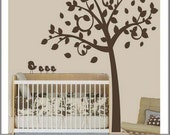 Nursery Tree Vinyl Lettering Wall Decal with Leaves and Birds by Delicate Expressions