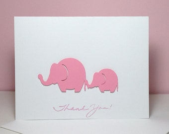 Baby Shower Thank You Note Card Set Handmade Pink Elephant, Pink Elephant Mom and Me Thank You Cards, Baby Shower Thank You Cards