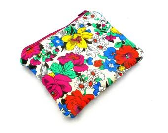 Retro Flowers Zipper Pouch - Blue Green Liberty Garden Flowers Zipper Pouch, Clutch Wallet Electronics