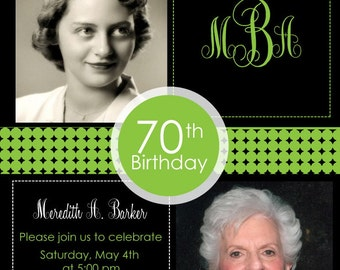 2 Photo Birthday Invitation - Adult Birthday Party Invitation Cards