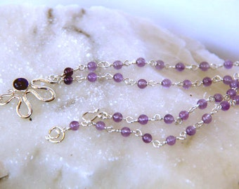 Amethyst necklace - Purple gemstones - flower necklace - February birth stone - crystal necklace - Free Shipping.
