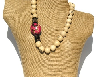 Classic  Natural Ivory Pambil- Fuchsia Pink Tagua Seeds Necklace.