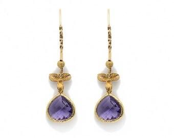 Purple earrings - Swarovsky crystal earrings - goldfilled earrings