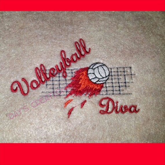 Volleyball Diva custom embroidered left chest t-shirt - play volleyball diva t-shirt - embroidered sports t-shirt