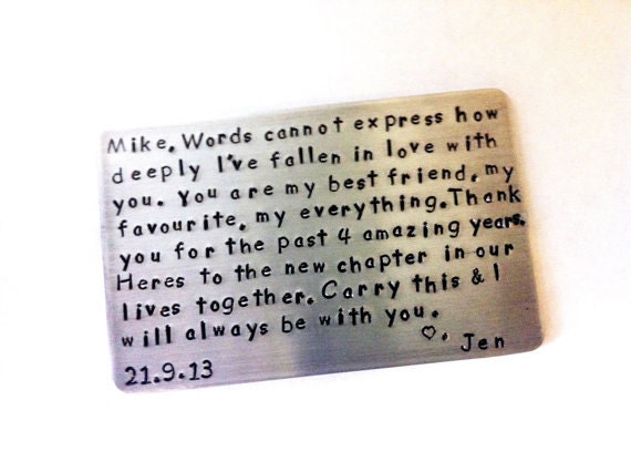 Wallet Insert Aluminum Card - Personalized Hand Stamped Metal - Gift Husband Boyfriend 5 Year Anniversary Gift