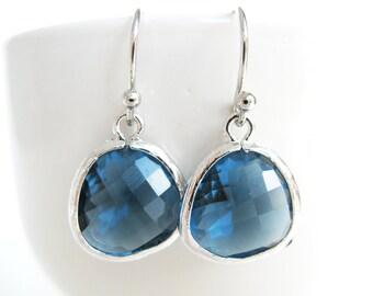 Navy Blue Earrings, Silver and Navy Earrings, Montana Blue Earrings, Glass Drop Earrings, Navy Bridesmaids Earrings, Navy Bridal Jewelry