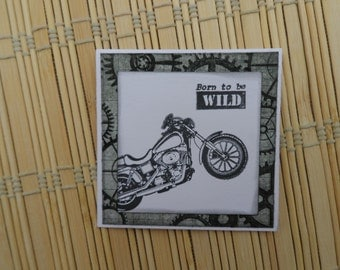 Motorcycle Card, Born To Be Wild, Masculine Note Cards, 3 X 3 card, Blank Card, Card for Men