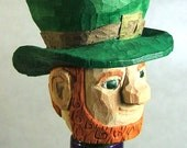 Hand Carved Wood Irish Leprechaun Unique Bottle Stopper Wood Sculpture by Claude's Woodcarving