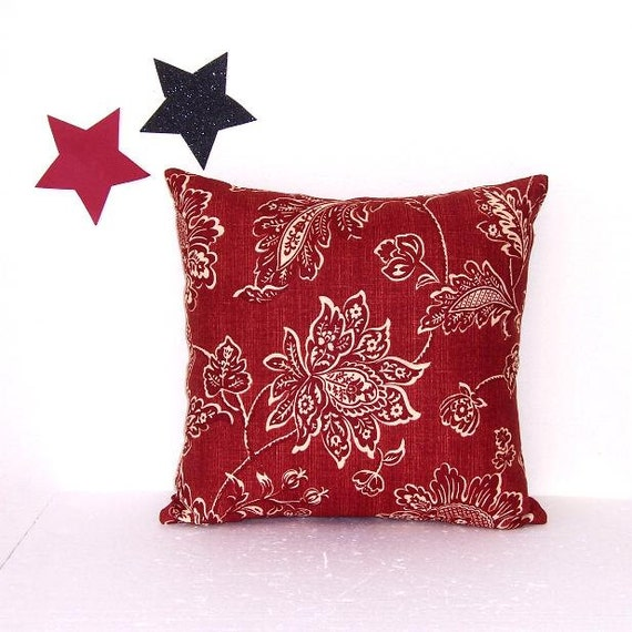 Burgundy Cream Pillow 18 Maroon Floral Pillow Cover By