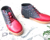 handmade shoes grey red leather Marapulai Sneakers US 9 men SALE Tigo high unisex