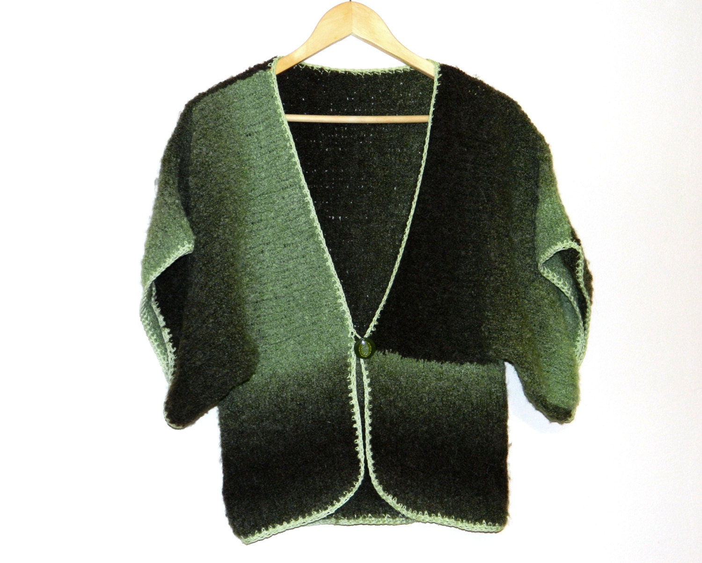 Knitting Pattern Shrug Cardigan : Boho Bolero Knitted Sweater Knit cardigan Womens shrug green