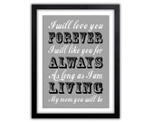 Gift For Mom - Gift for Her on Mothers Day - Gift for Mom - Grandma - Grandparent Gift - Any Color -  Print - I'll Love You