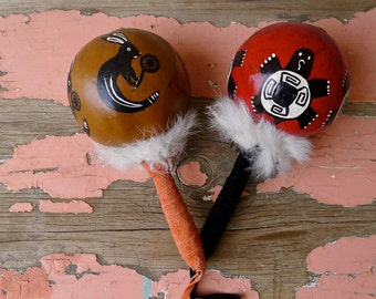 Ceremonial Gourd Rattles - Native designs - artisan made - 80's - Turtle - Rabbit