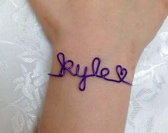 Name bracelet, Personalized bracelet, wire name bracelet, wire name, bangle bracelet, bangle, name, purple name bracelet, purple name